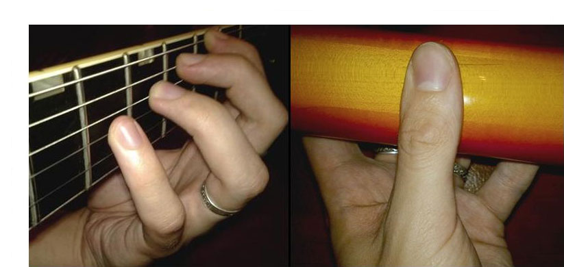 the Left hand, concerns bearing on the fretboard is only thumb